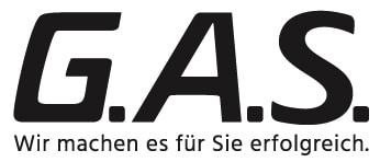 G.A.S. Logo mit Claim - schwarz